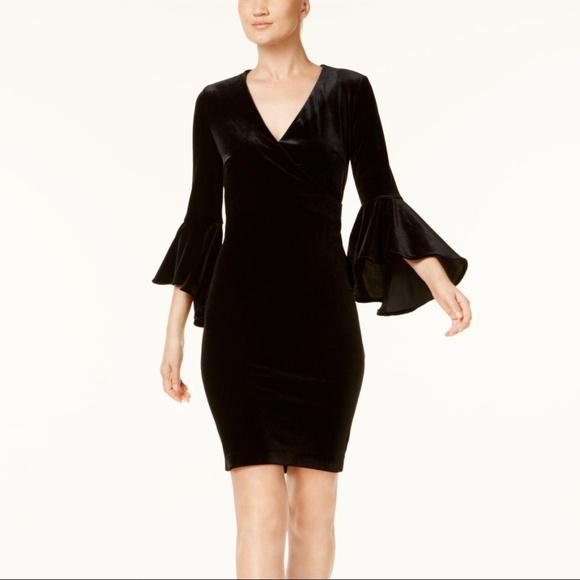 b0e7e0ce92c Calvin Klein Velvet Bell sleeve Wrap Dress Black